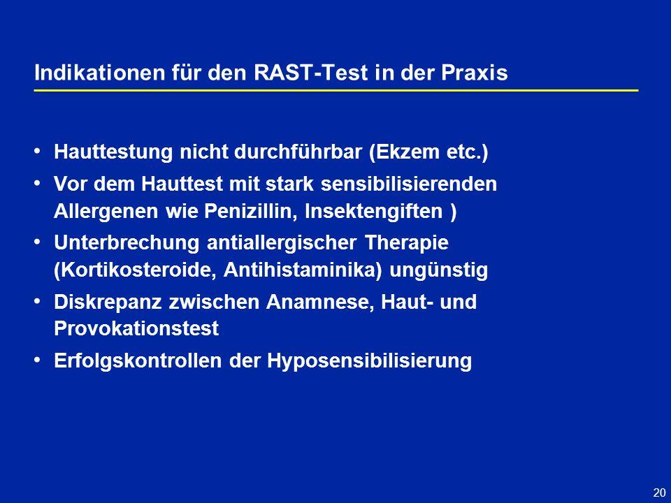 Indikationen für den RAST-Test in der Praxis