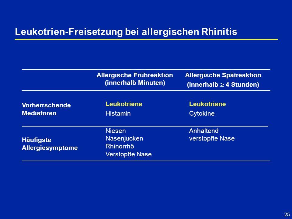 Leukotrien-Freisetzung bei allergischen Rhinitis