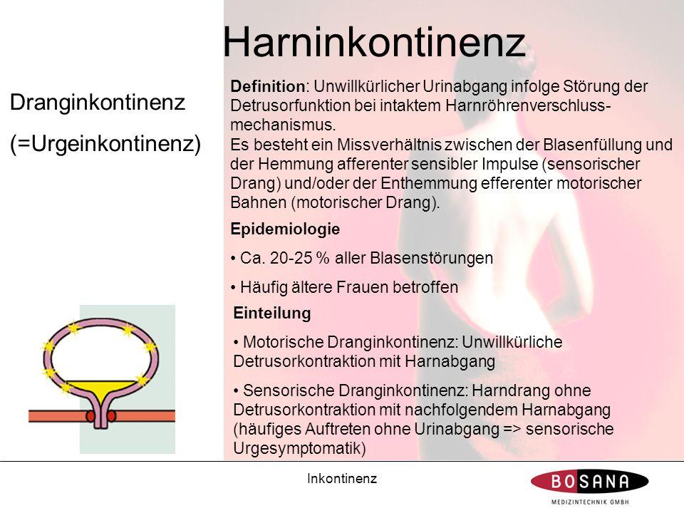 Harninkontinenz Dranginkontinenz (=Urgeinkontinenz)