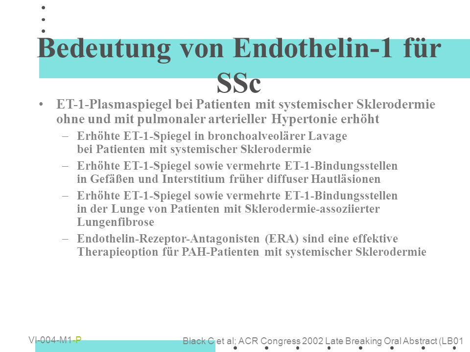 Bedeutung von Endothelin-1 für SSc