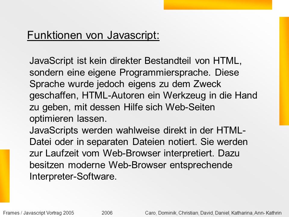 Funktionen von Javascript: