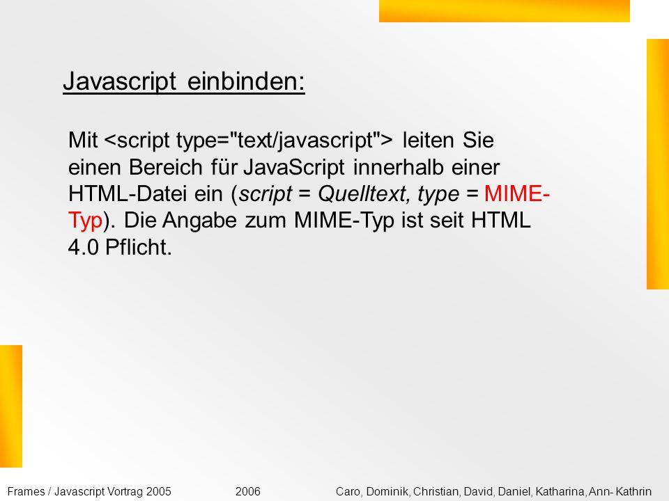 Javascript einbinden: