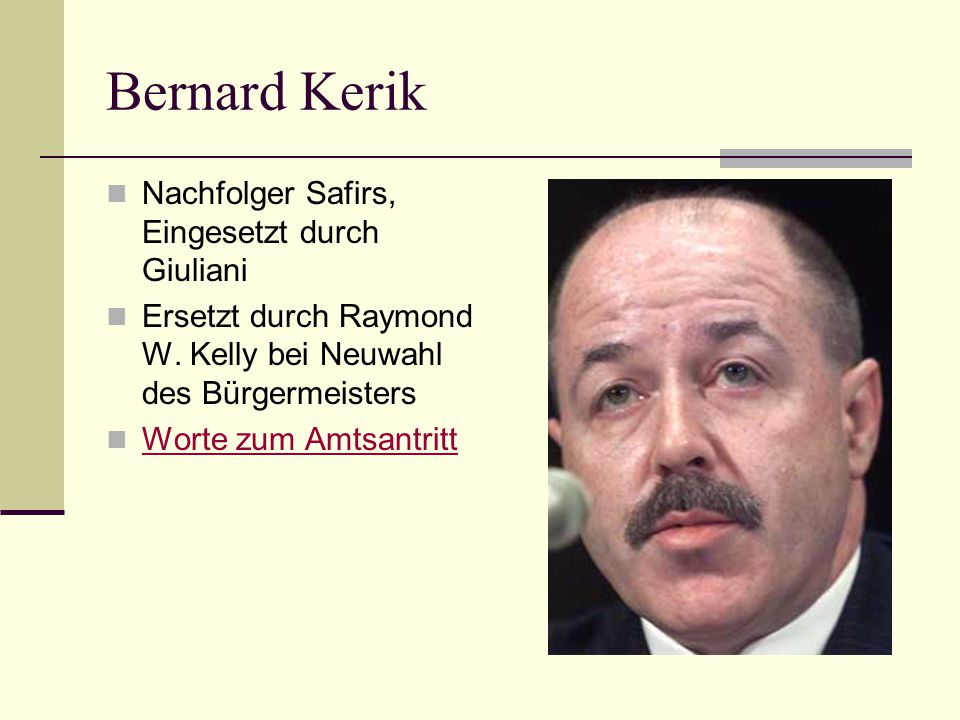 Bernard Kerik Nachfolger Safirs, Eingesetzt durch Giuliani