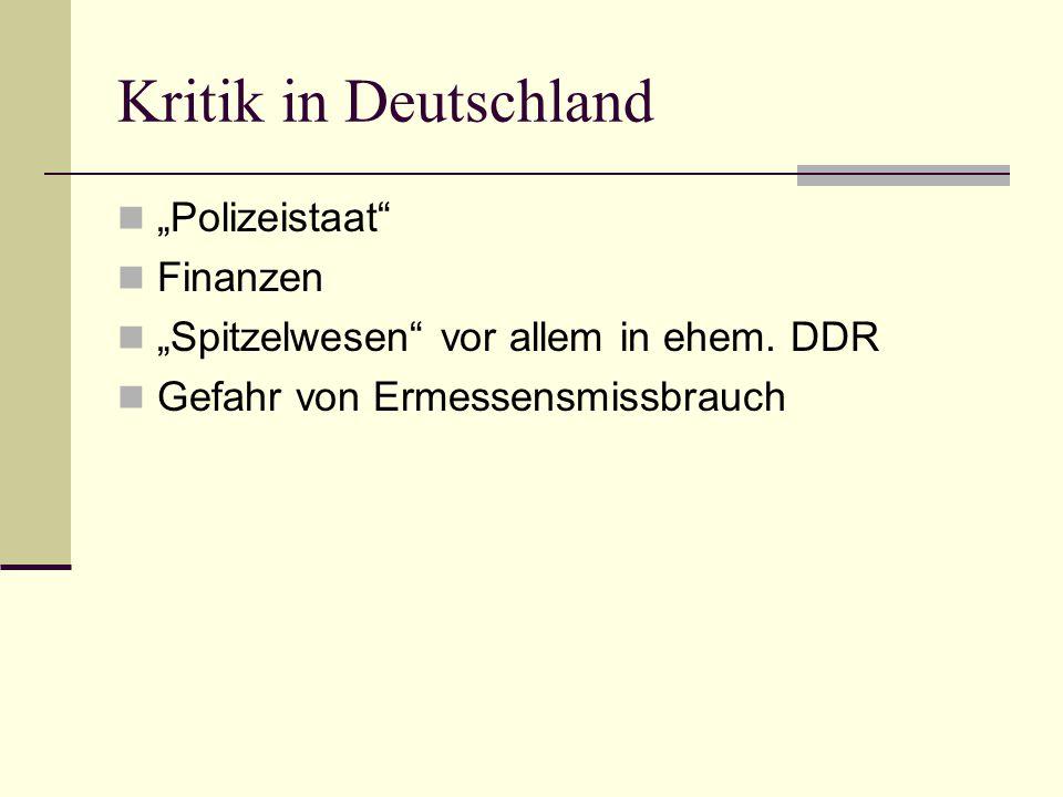 """Kritik in Deutschland """"Polizeistaat Finanzen"""