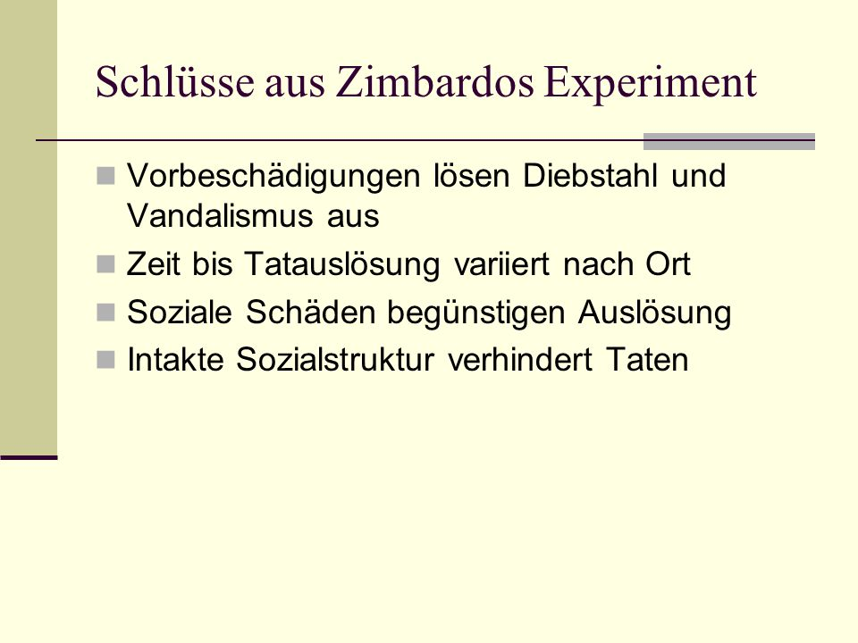 Schlüsse aus Zimbardos Experiment
