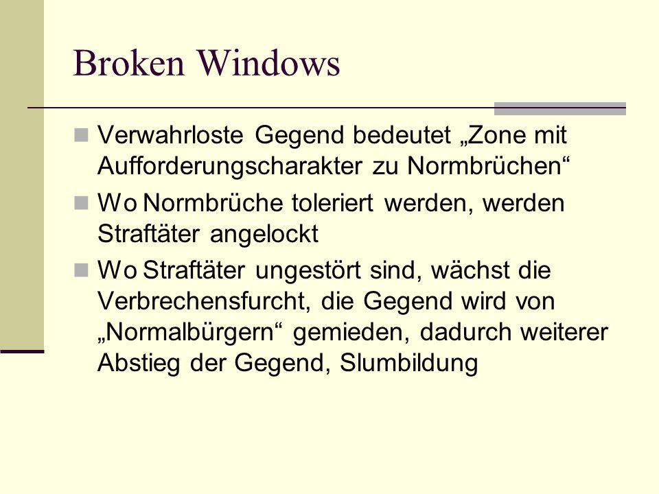 """Broken Windows Verwahrloste Gegend bedeutet """"Zone mit Aufforderungscharakter zu Normbrüchen"""