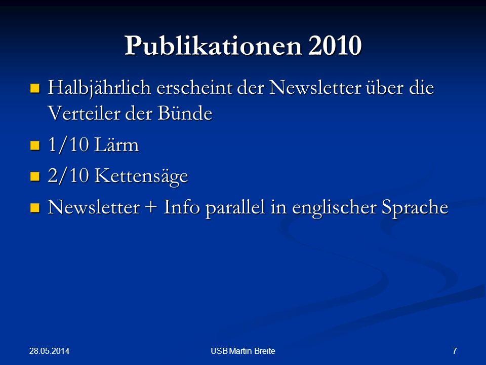 Publikationen 2010 Halbjährlich erscheint der Newsletter über die Verteiler der Bünde. 1/10 Lärm. 2/10 Kettensäge.