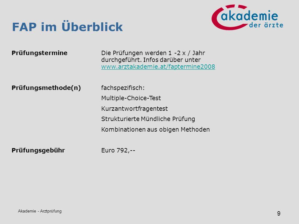 FAP im Überblick Prüfungstermine Die Prüfungen werden 1 -2 x / Jahr durchgeführt. Infos darüber unter www.arztakademie.at/faptermine2008.