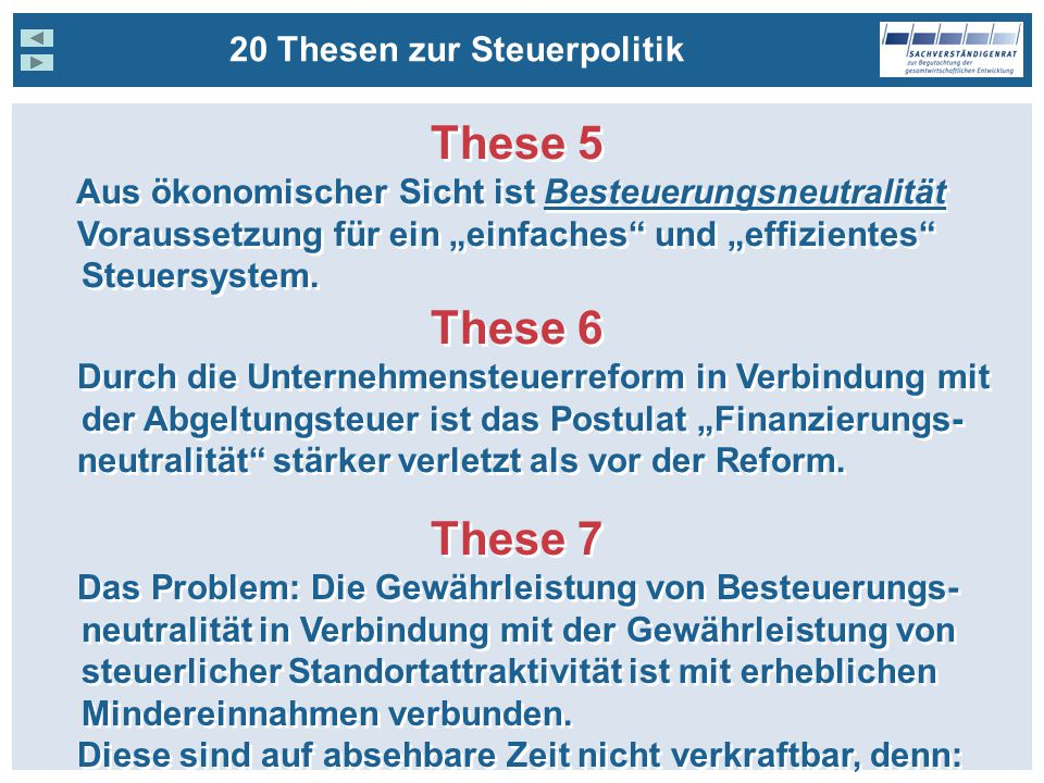 These 5 These 6 These 7 20 Thesen zur Steuerpolitik