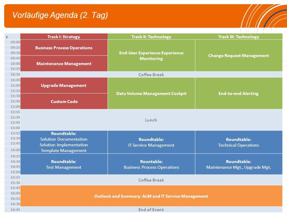 Vorläufige Agenda (2. Tag)