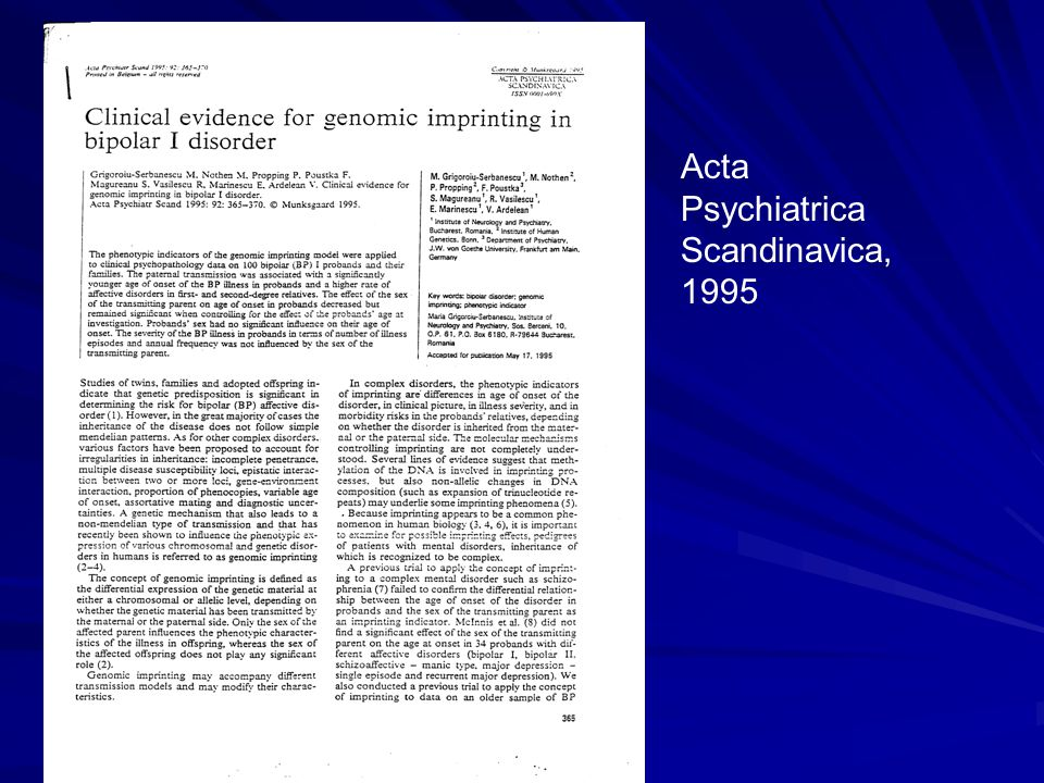 Acta Psychiatrica Scandinavica, 1995
