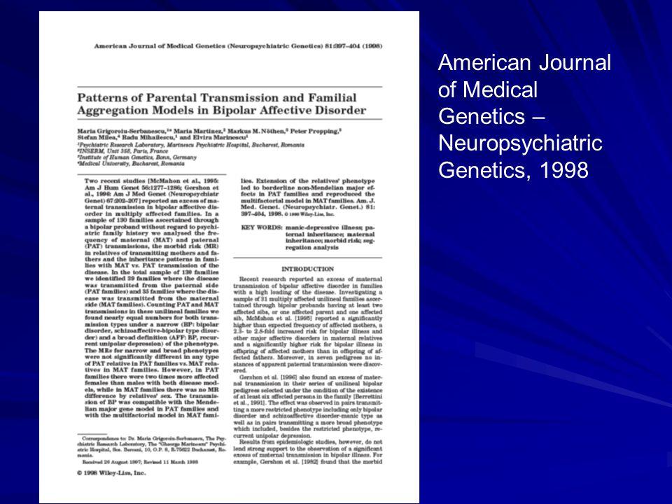 American Journal of Medical Genetics – Neuropsychiatric Genetics, 1998