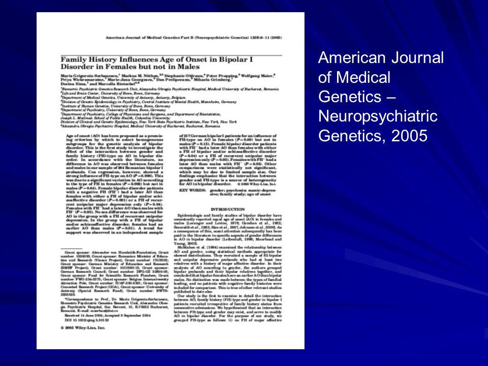 American Journal of Medical Genetics – Neuropsychiatric Genetics, 2005