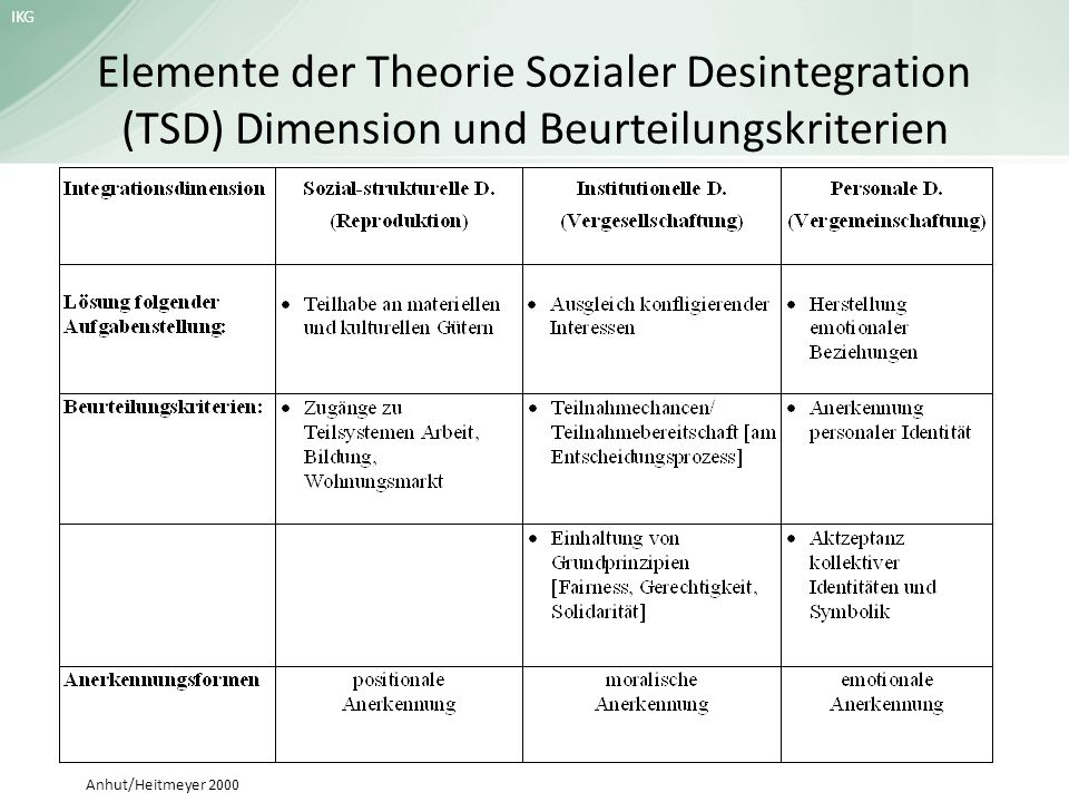 Elemente der Theorie Sozialer Desintegration (TSD) Dimension und Beurteilungskriterien