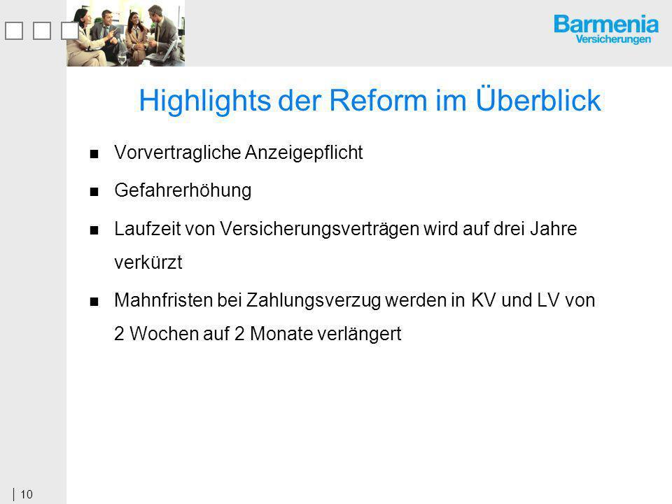 Highlights der Reform im Überblick