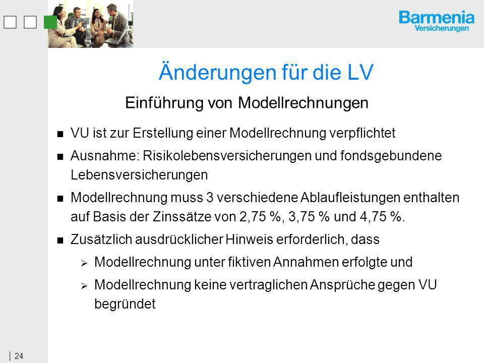 Änderungen für die LV Einführung von Modellrechnungen