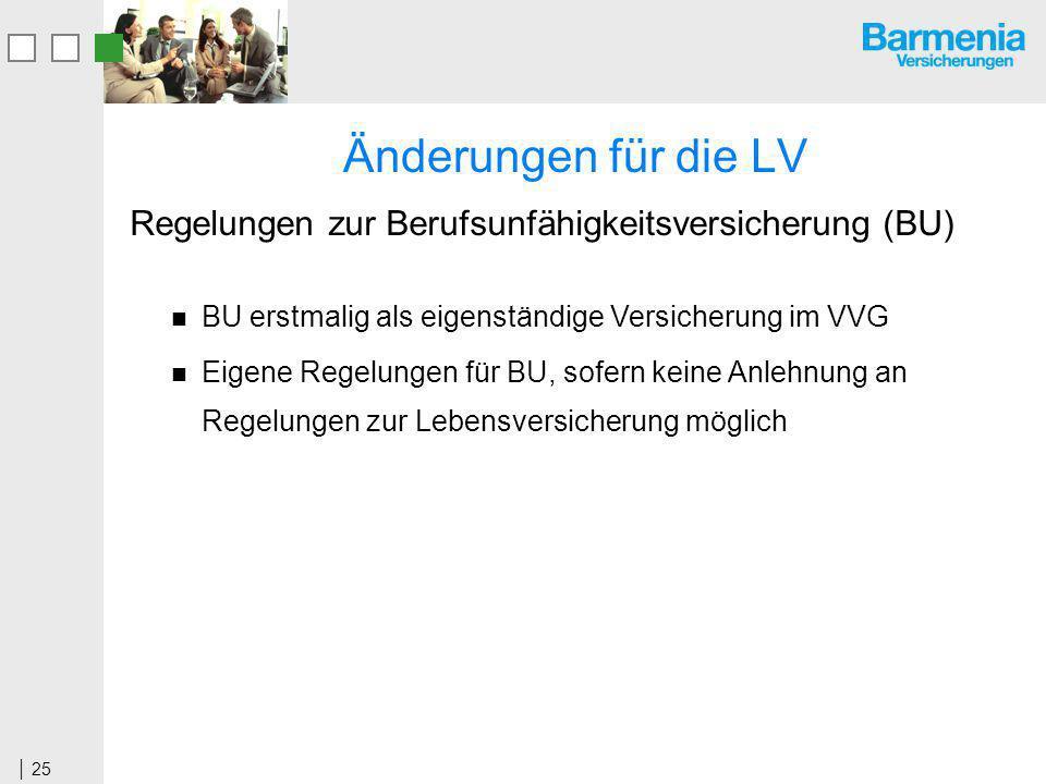 Änderungen für die LV Regelungen zur Berufsunfähigkeitsversicherung (BU) BU erstmalig als eigenständige Versicherung im VVG.