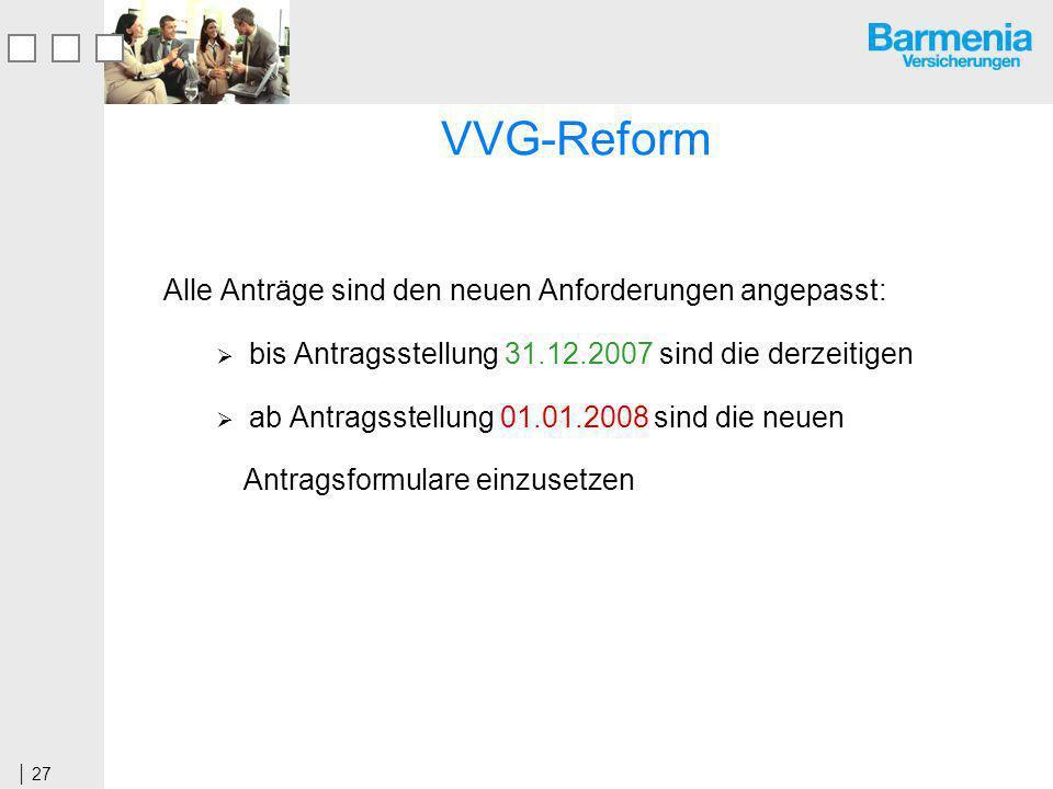 VVG-Reform Alle Anträge sind den neuen Anforderungen angepasst:
