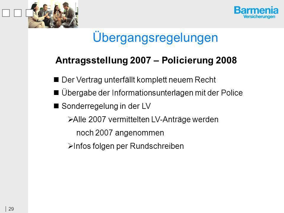 Antragsstellung 2007 – Policierung 2008
