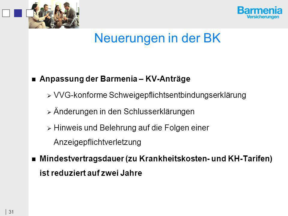 Neuerungen in der BK Anpassung der Barmenia – KV-Anträge