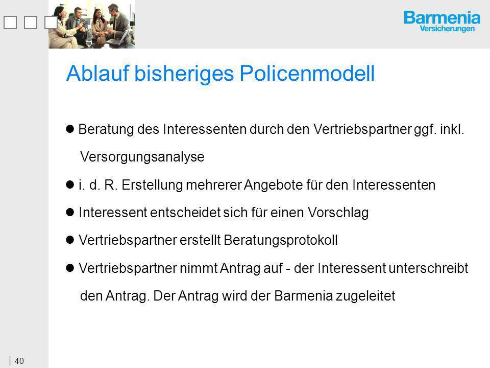 Ablauf bisheriges Policenmodell