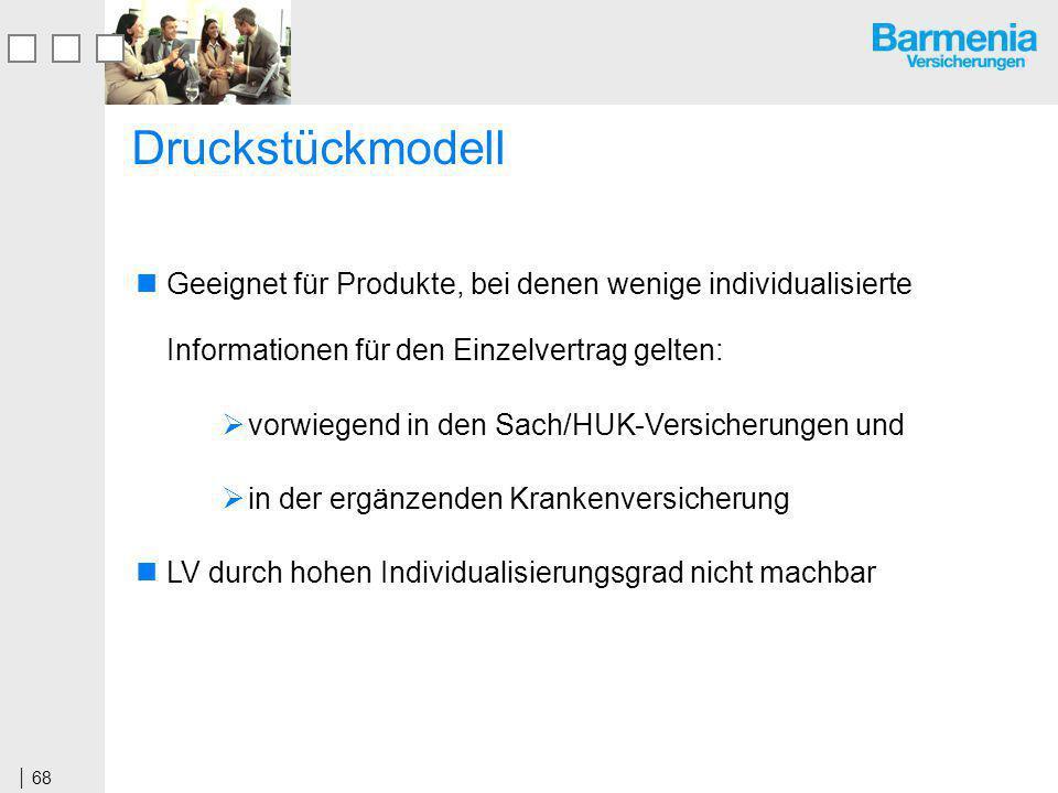 Druckstückmodell Geeignet für Produkte, bei denen wenige individualisierte Informationen für den Einzelvertrag gelten: