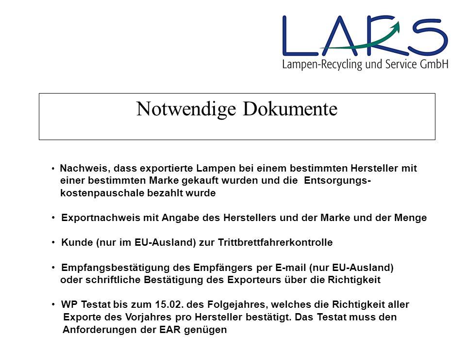 Notwendige Dokumente Nachweis, dass exportierte Lampen bei einem bestimmten Hersteller mit.