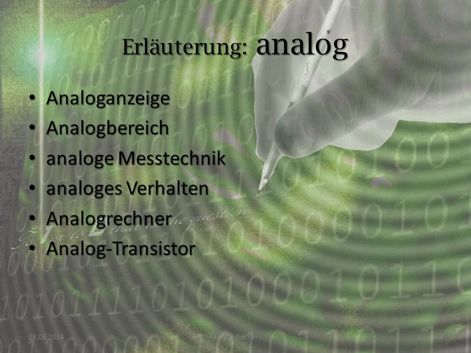 Erläuterung: analog Analoganzeige Analogbereich analoge Messtechnik