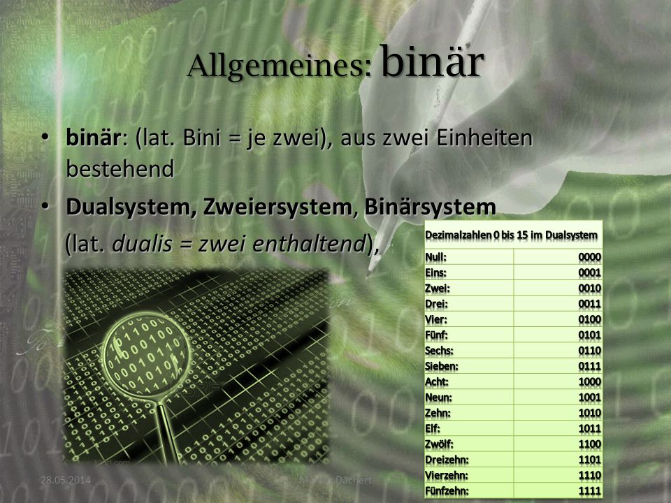 Allgemeines: binär binär: (lat. Bini = je zwei), aus zwei Einheiten bestehend. Dualsystem, Zweiersystem, Binärsystem.