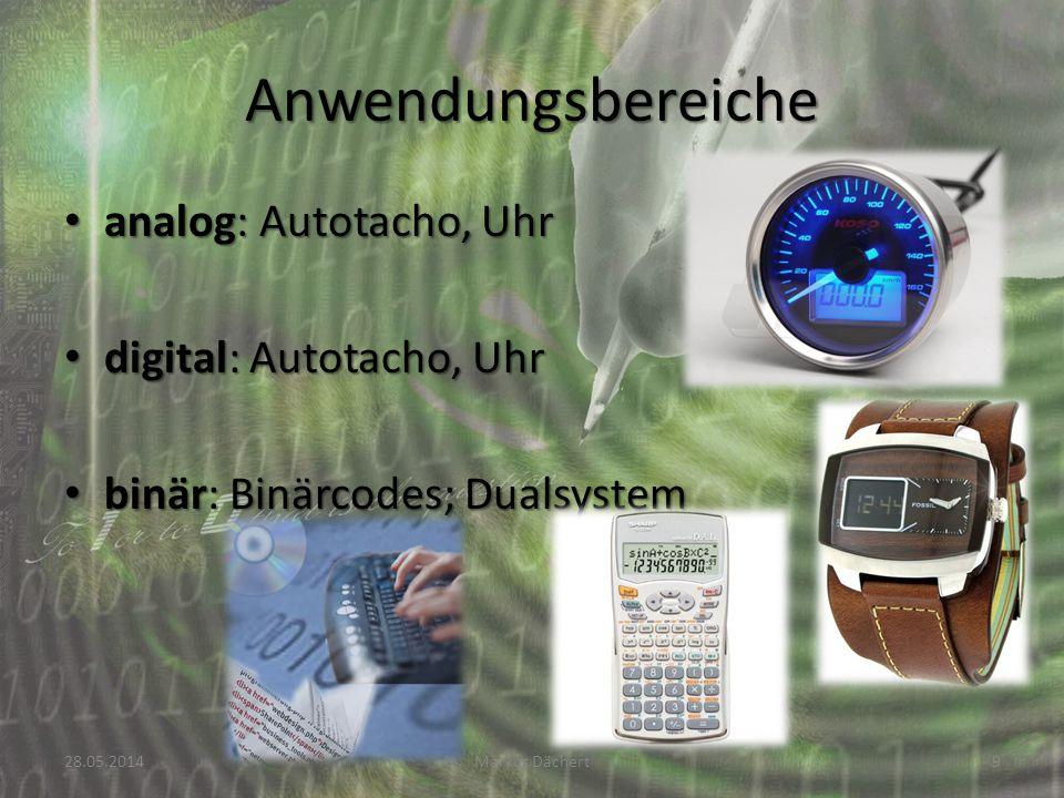 Anwendungsbereiche analog: Autotacho, Uhr digital: Autotacho, Uhr