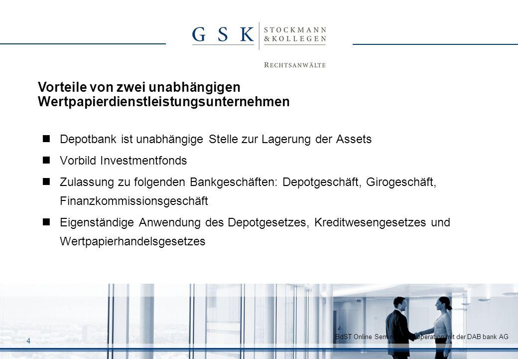 Vorteile von zwei unabhängigen Wertpapierdienstleistungsunternehmen