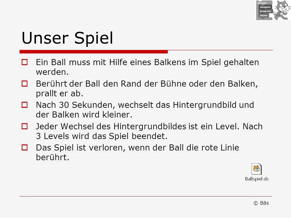 Unser Spiel Ein Ball muss mit Hilfe eines Balkens im Spiel gehalten werden. Berührt der Ball den Rand der Bühne oder den Balken, prallt er ab.