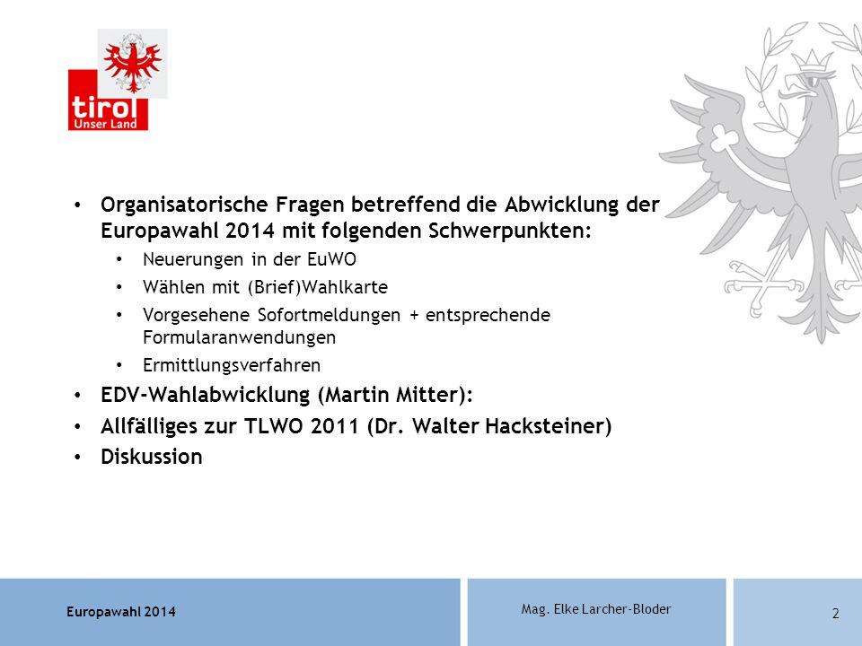 EDV-Wahlabwicklung (Martin Mitter):