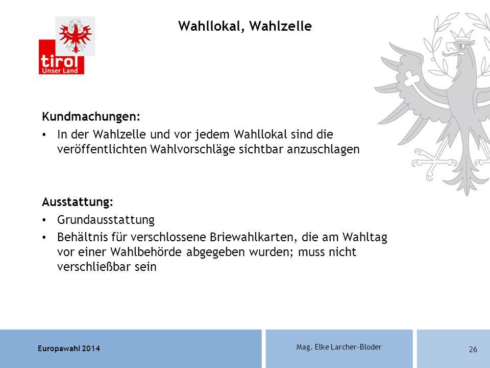 Wahllokal, Wahlzelle Kundmachungen: