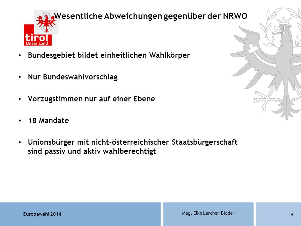 Wesentliche Abweichungen gegenüber der NRWO