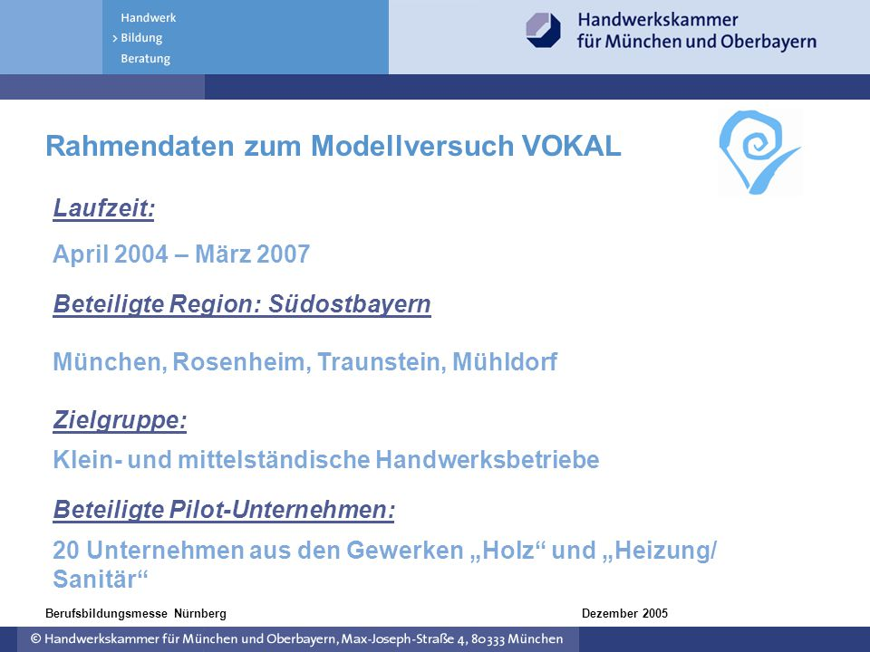Rahmendaten zum Modellversuch VOKAL
