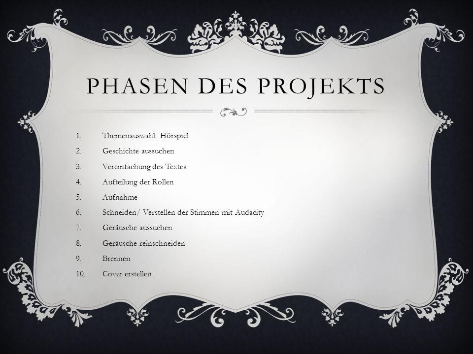 Phasen des projekts Themenauswahl: Hörspiel Geschichte aussuchen