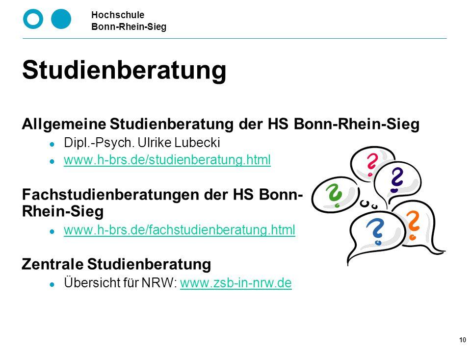 Studienberatung Allgemeine Studienberatung der HS Bonn-Rhein-Sieg
