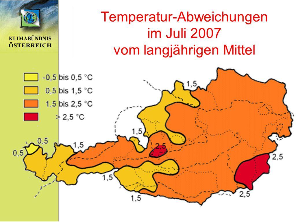 Temperatur-Abweichungen im Juli 2007 vom langjährigen Mittel