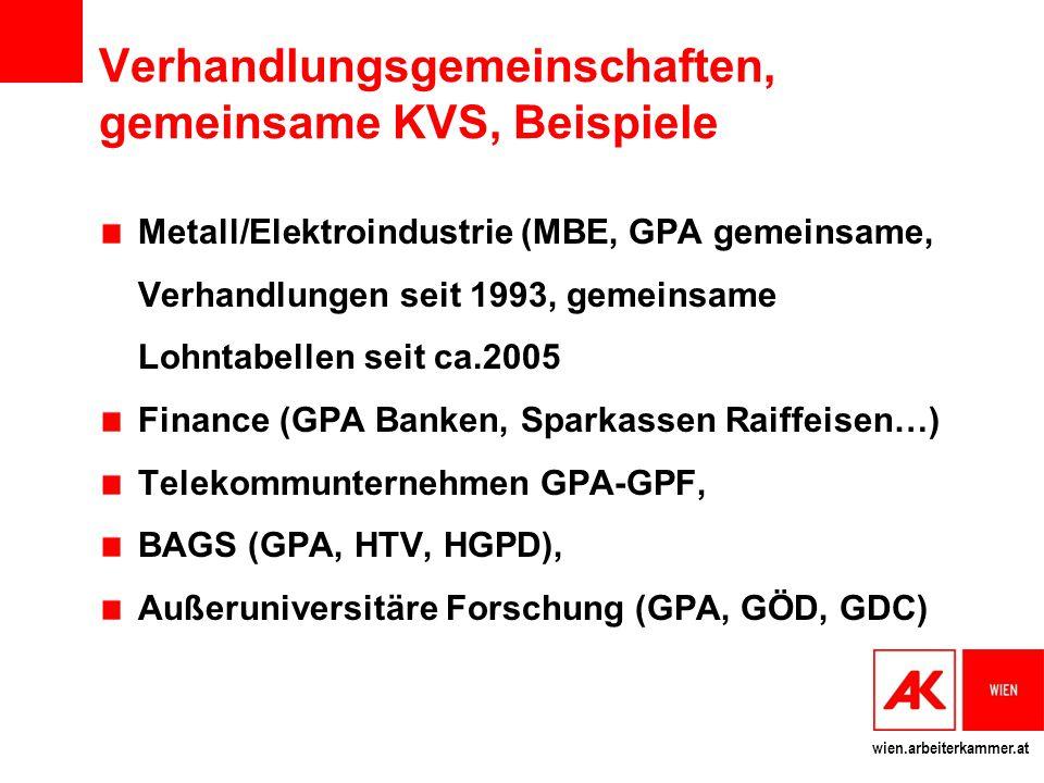 Verhandlungsgemeinschaften, gemeinsame KVS, Beispiele