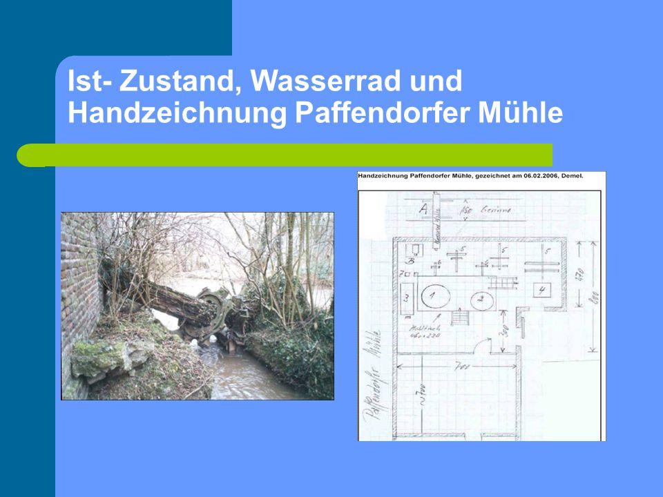 Ist- Zustand, Wasserrad und Handzeichnung Paffendorfer Mühle