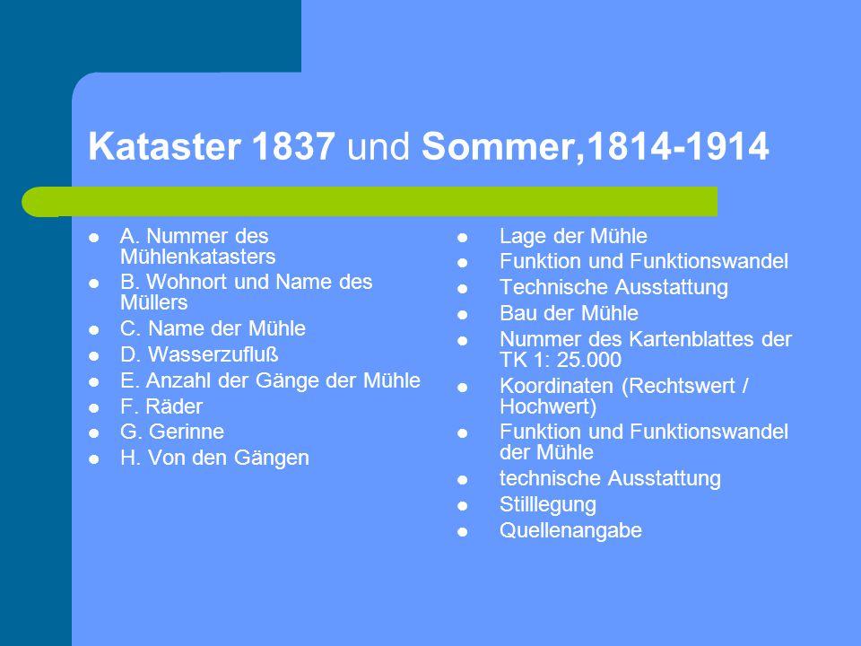 Kataster 1837 und Sommer,1814-1914 A. Nummer des Mühlenkatasters