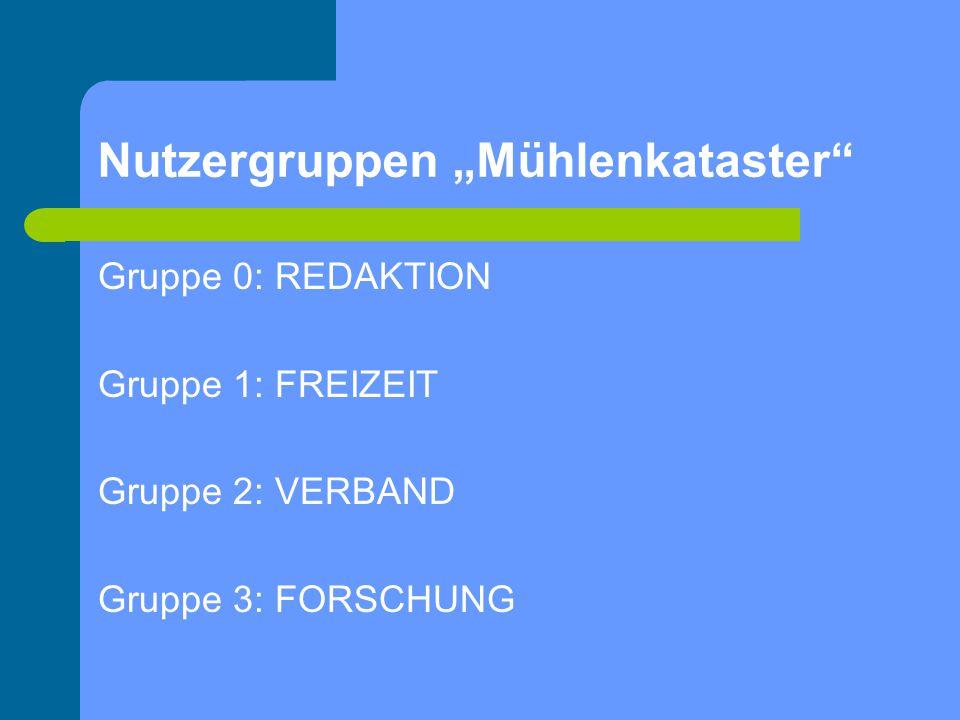 """Nutzergruppen """"Mühlenkataster"""