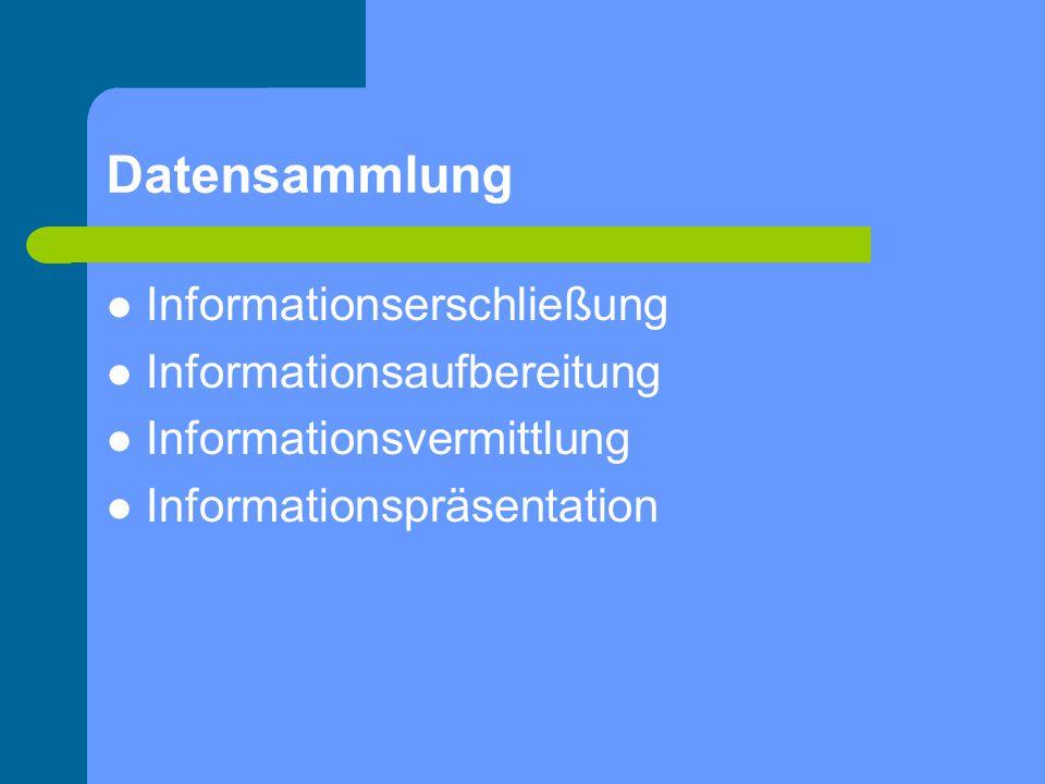 Datensammlung Informationserschließung Informationsaufbereitung