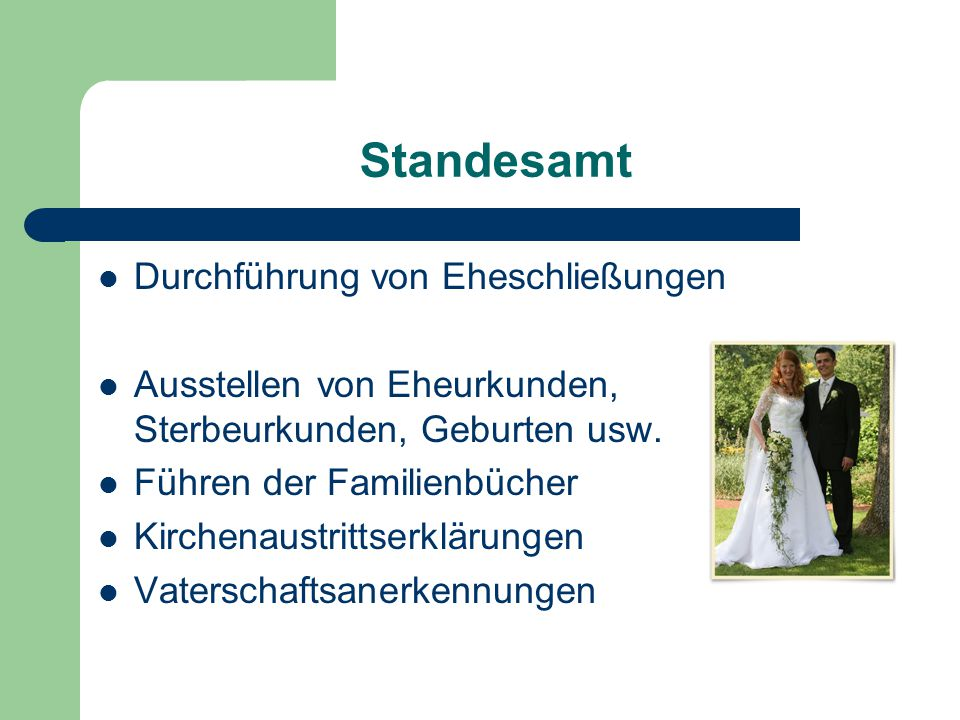 Standesamt Durchführung von Eheschließungen