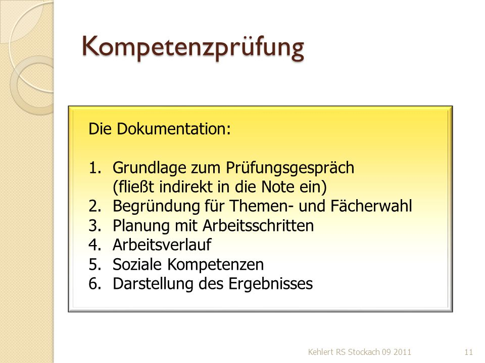 Kompetenzprüfung Die Dokumentation:
