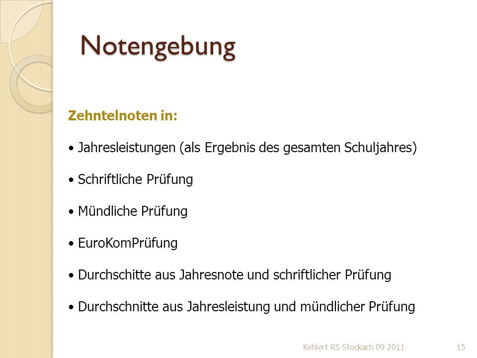 Notengebung Zehntelnoten in: