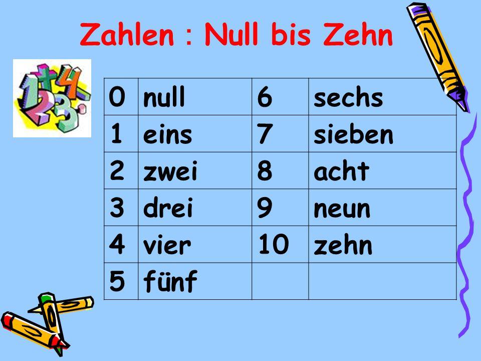 Zahlen:Null bis Zehn null 6 sechs 1 eins 7 sieben 2 zwei 8 acht 3 drei