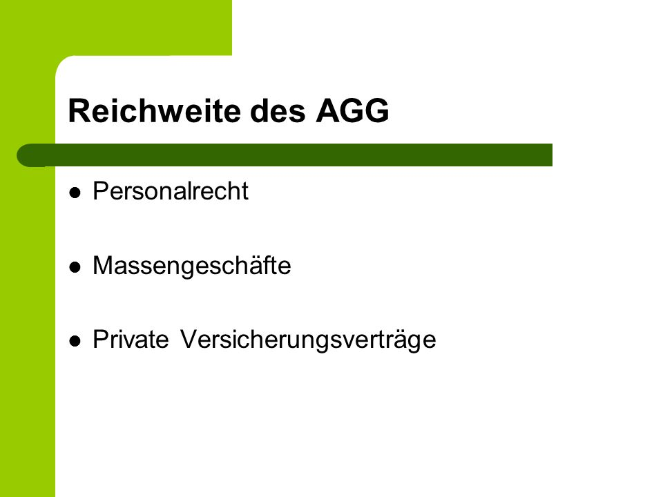 Reichweite des AGG Personalrecht Massengeschäfte