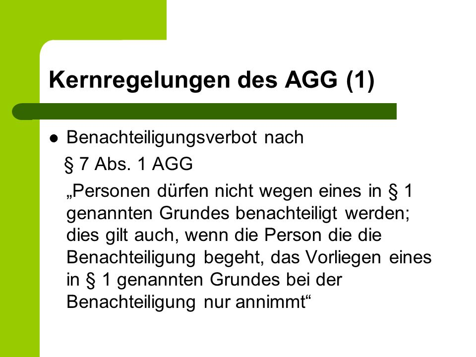 Kernregelungen des AGG (1)